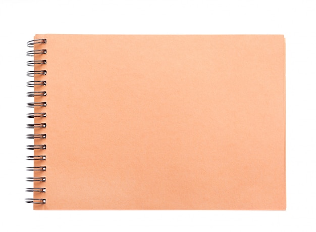 Blank spiral brown paper notebook front cover brown paper isolated on white