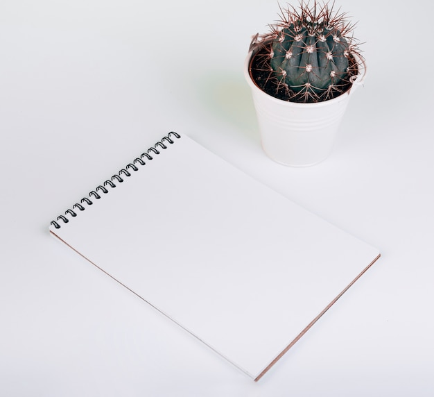 Blank spiral notepad near the cactus bucket on white background