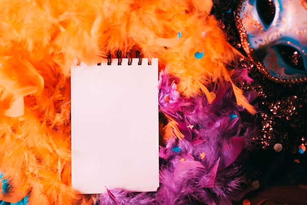 Blank spiral notepad over orange feather boa