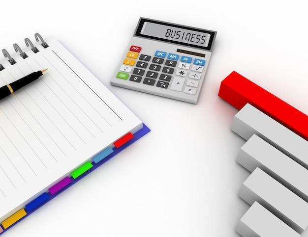 펜, 사무실 계산기 및 막대 그래프가 있는 빈 나선형 메모장. 비즈니스 금융