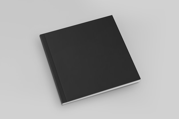 Blank square cover book template on black background
