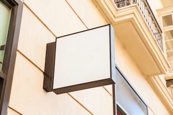 Blank square shop sign