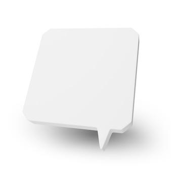 빈 사각형 연설 거품 또는 풍선 흰색 표면에 고립. 3d 렌더링