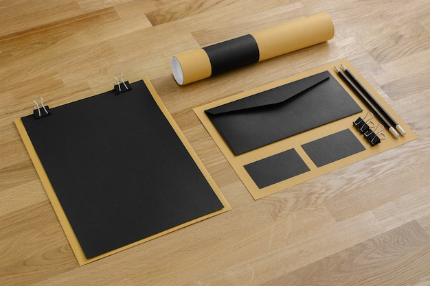 Blank stationery branding mockup on wooden background