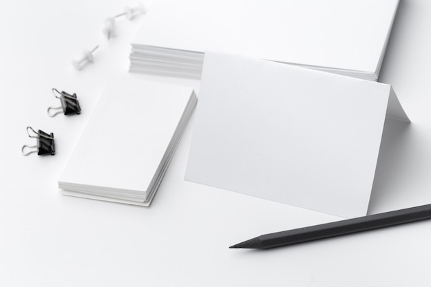 Blank stationery for business branding isolated on white background