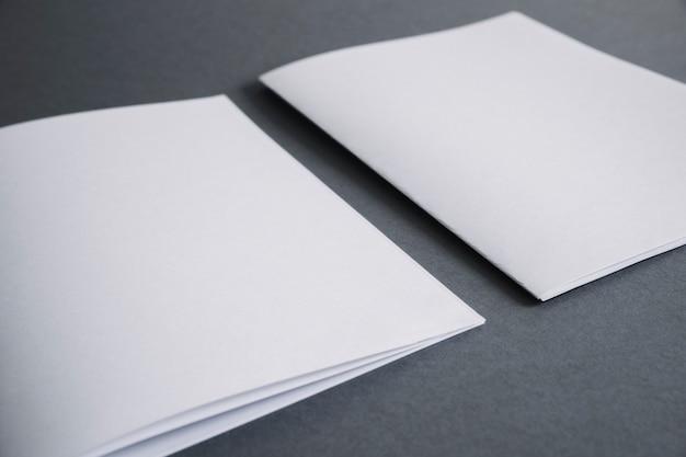 Concetto di cancelleria in bianco con due opuscoli