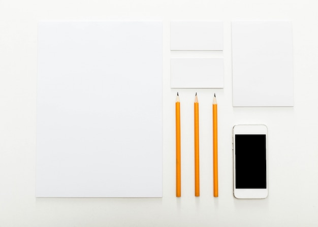 Blank  stationery set for branding identity, top view