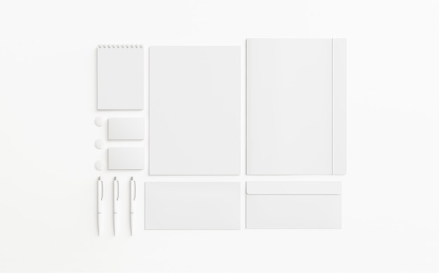 Blank stationery set isolated on white, 3d render.