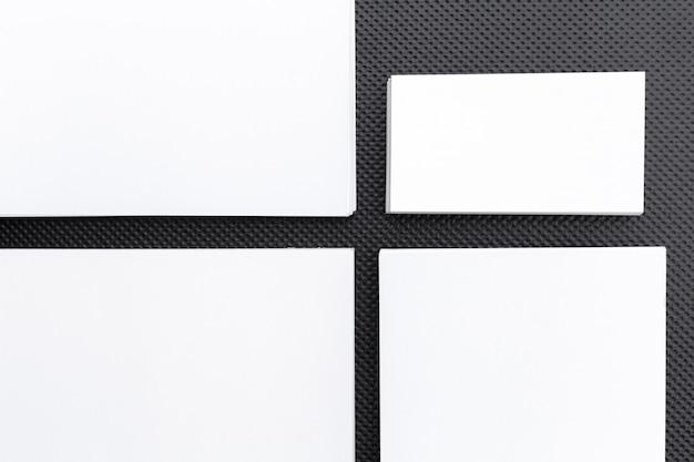 Blank stationery template on black, mock-up for branding identity, for design presentations