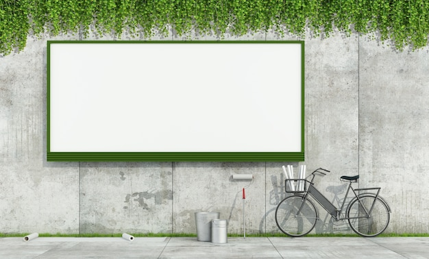 Blank street billboard on grunge concrete wall and tools to put up posters. 3d rendering