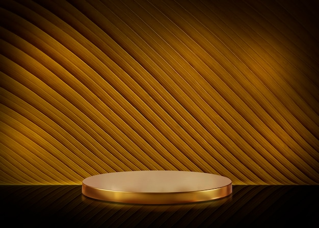 Blank of table and gold background for cosmetic product
