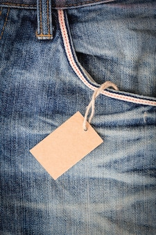 Blank tag price in blue jean pocket