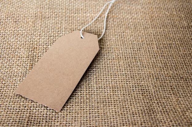 Blank tag on the sackcloth