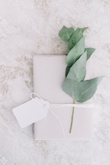 Blank tag tied on white package with twig on marble background