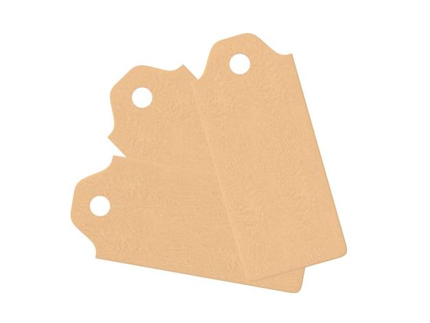 빈 태그 묶여 가격 태그 선물 태그 판매 태그 주소 레이블 흰색 배경 3d 렌더링에 고립