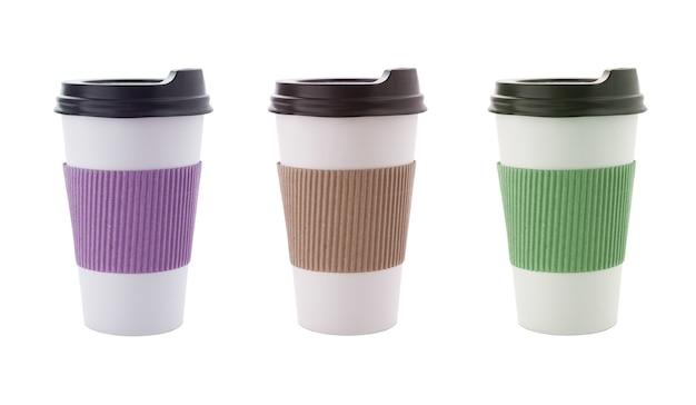 Пустой макет чашки кофе крафт на вынос, изолированные на белом