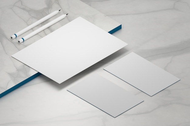 Blank template a4 paper sheet and two business cards with pencils