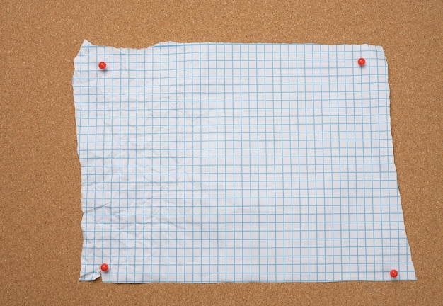 Blank torn crumpled white squared sheet of paper pinned to brown cork board
