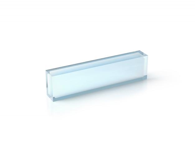 空白の透明なアクリルデスクブロックモックアップ、