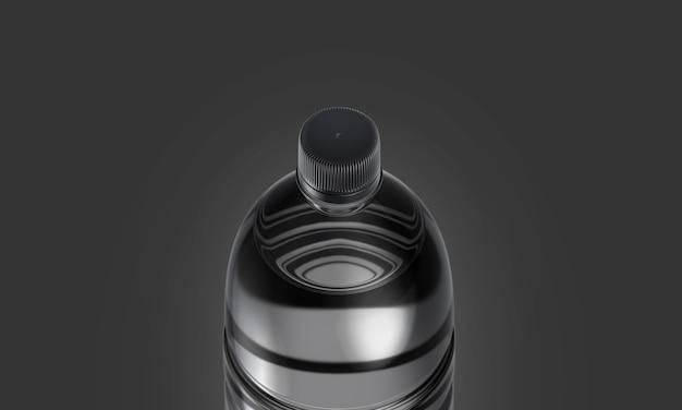 黒のキャップが付いている空白の透明なプラスチックボトル