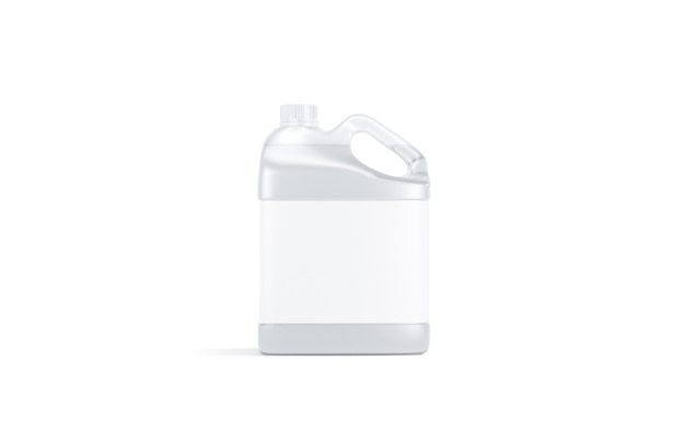 Blank transparent plastic canister with water  stand isolated, 3d rendering. empty jug with label for beverage , front view. clear fresh aqua or detergent gallon