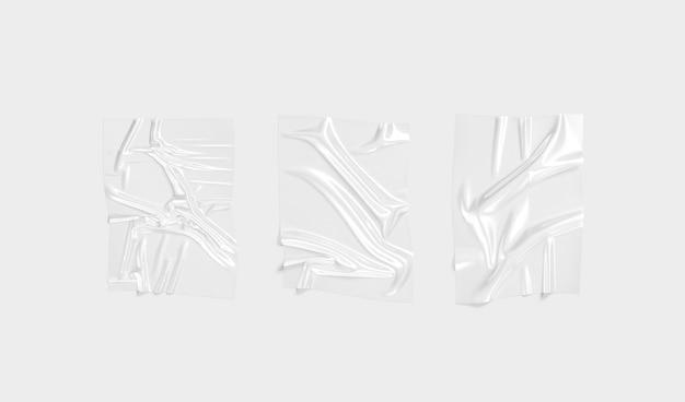 空白の透明なプラスチックホイルラップオーバーレイモックアップ空の粉砕された透明なセロハンモックアップ