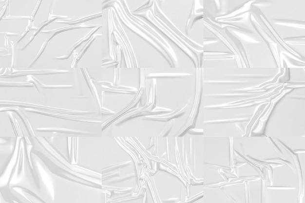 空白の透明なプラスチックホイルラップオーバーレイモックアップ空のしわのある保護セロテープモックアップ