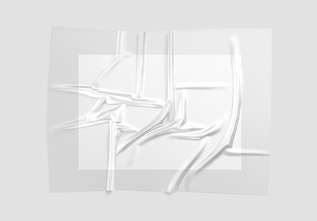 ポスターモックアップ付きの空白の透明なプラスチックホイルラップオーバーレイa4紙モックアップ付きの光沢素材