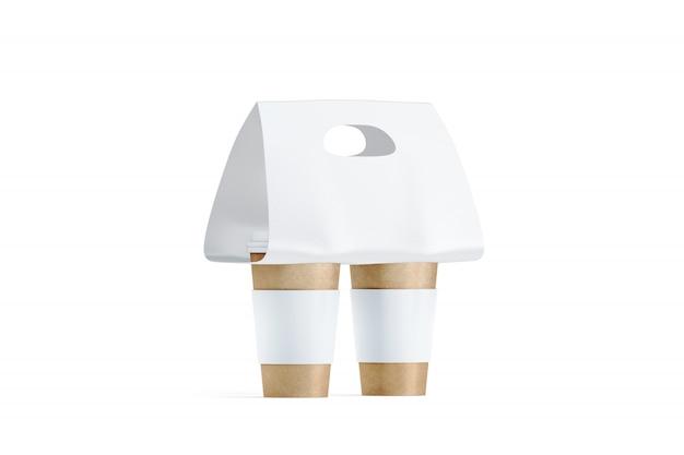 Пустые две крафтовых кофейных чашки белый держатель
