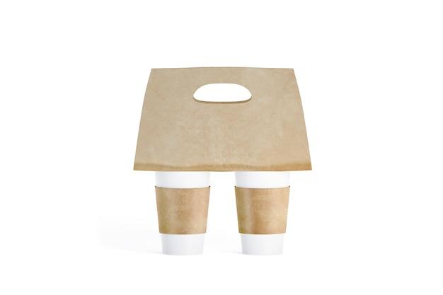 Пустые две белые кофейные чашки