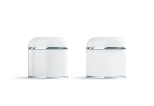 Blank two white cosmetic can mock up, isolated