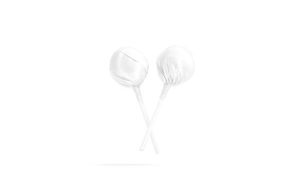 Пустые две белые обертки леденца на палочке макет 3d-рендеринга пустой сладкий шар десерт макет изолирован
