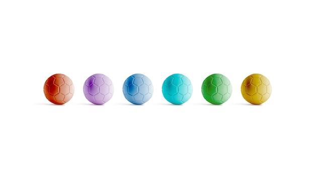 Blank varicoloured soccer balls, front view,