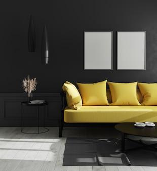 빈 수직 포스터 프레임 검은 벽과 밝은 노란색 소파, 스칸디나비아 스타일, 3d 일러스트와 함께 현대 럭셔리 거실 인테리어에 조롱