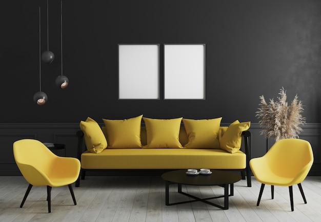 커피 테이블 근처 검은 벽과 세련된 노란색 소파와 디자인 안락 의자와 현대적인 객실 인테리어에 모의 빈 수직 포스터 프레임