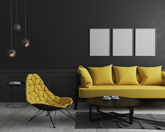 Blank vertical poster frame mock up in modern room interior  with black wall and stylish yellow sofa and design armchair near coffee table
