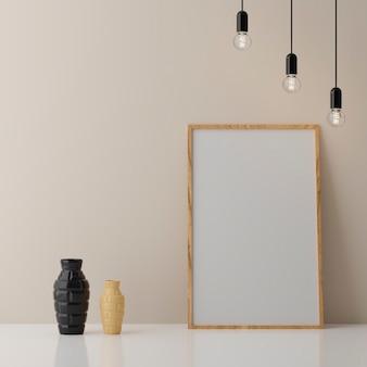 Blank vertical poster frame mock up standing on beige floor