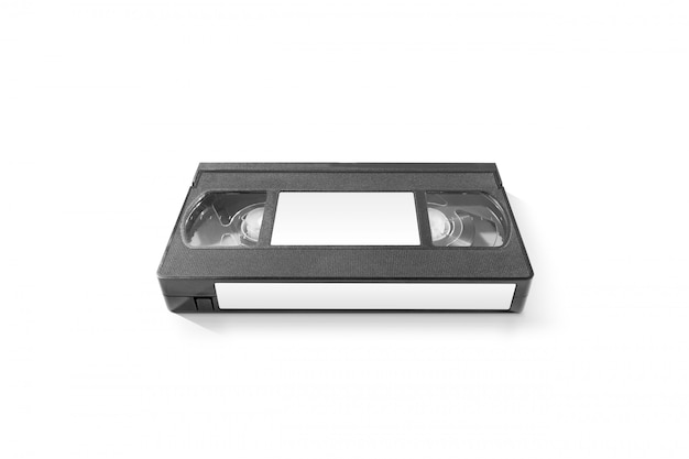 Blank video cassette tape  with white stickers, isolated