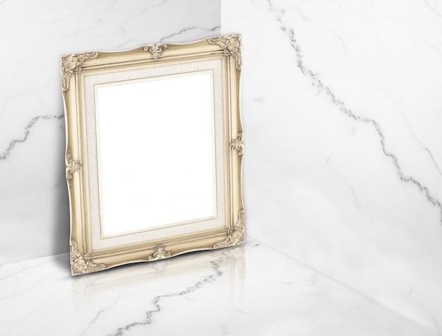 Blank vintage golden photo frame at white glossy marble corner studio room background.