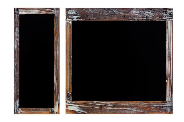 Blank vintage wood chalkboard isolated on white background