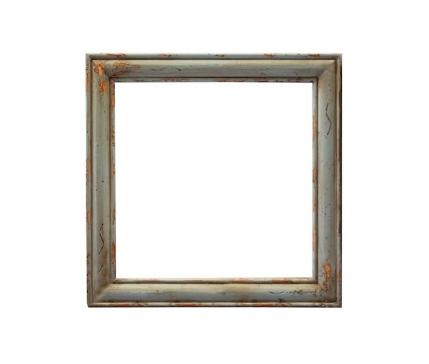 白い背景で隔離の空白のビンテージ木製画像フォトフレーム