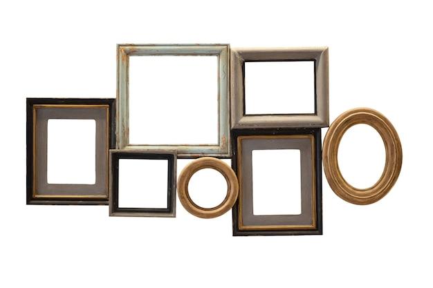 白い背景で隔離の空白のビンテージ木製画像フォトフレームセットコレクション