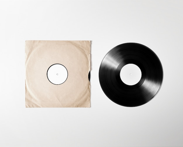 Blank vinyl album cover sleeve , isolated,