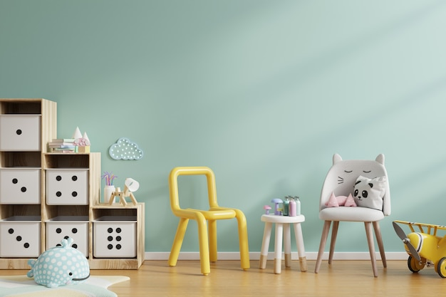 Blank wall in the children's room in mint green color wall. 3d rendering