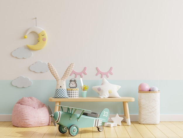 Blank wall in the children's room in white, blue wall.3d rendering