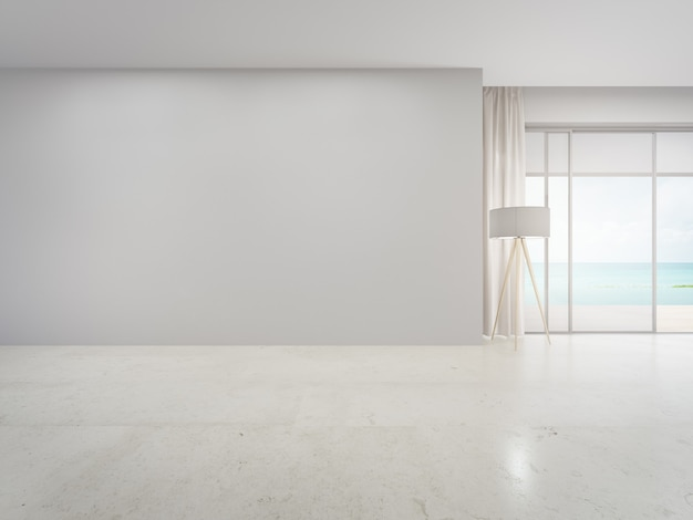 Blank wall on empty beige marble floor of large living room in modern house