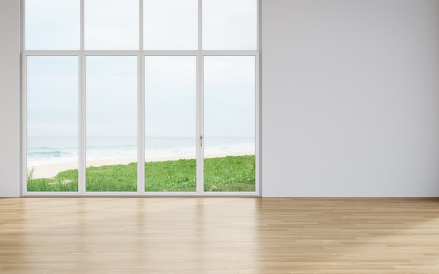 Blank wall on empty wooden floor of large living room in modern house with beach and sea view