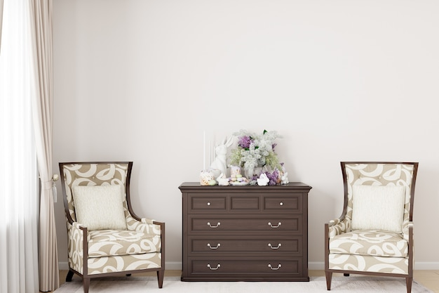 空白の壁のモックアップとイースターの装飾