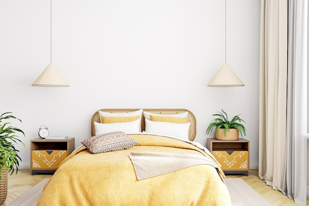 空白の壁のモックアップ寝室