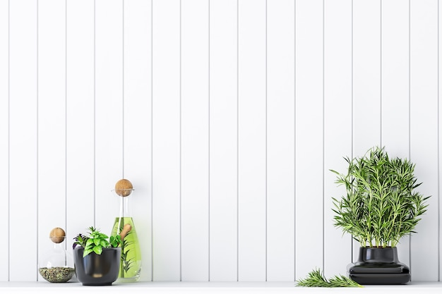 Blank wall mockup kitchen with herbs